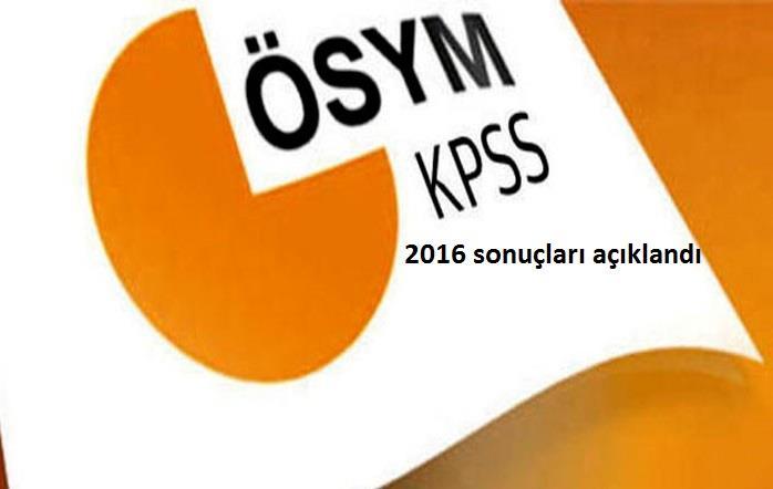 2016 KPSS Lisans Sinavina ait sonuçlar açiklandi