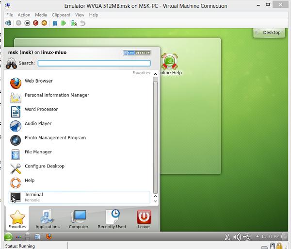linux konsol çalistirmak