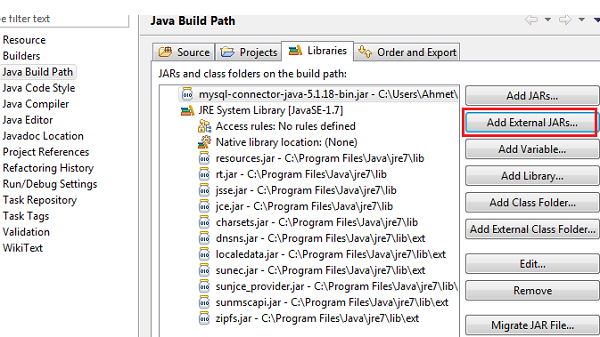 mysql and java