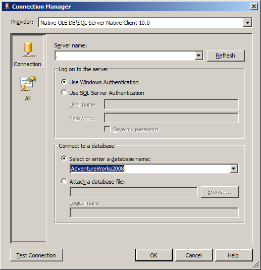 SSIS Ole DB New Connection