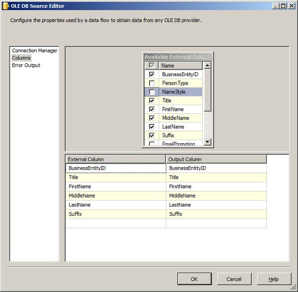SSIS Ole DB Source Editor