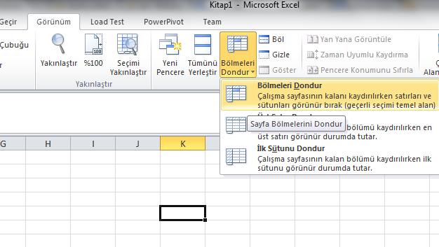 Excel Çalışma Sayfasında Satır ve Sutunları Dondurmak - Sabitleme